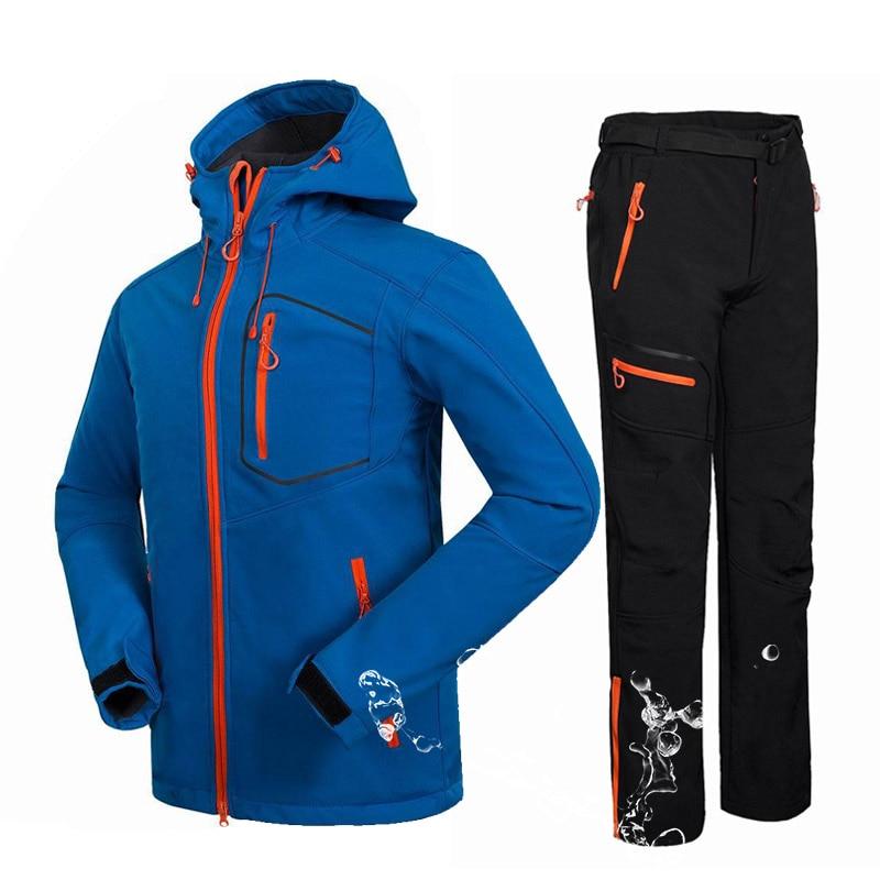 Winter Male Soft shell Jacket +Pants Waterproof Warm Mountain Camping Hiking Jacket Outdoor Fleece Breathable Windbreaker Jacket