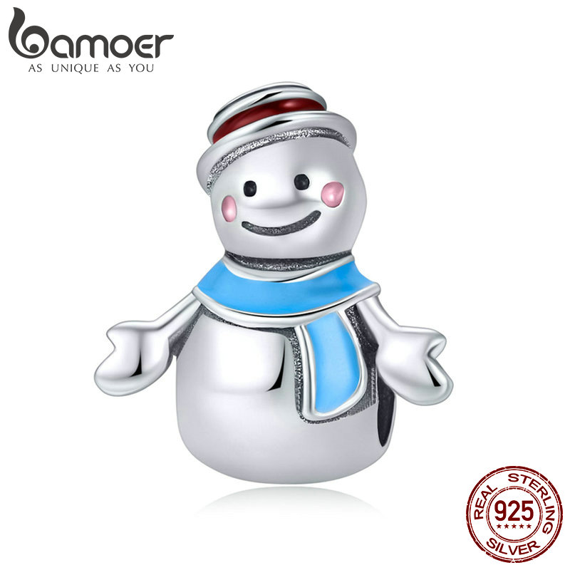 BAMOER Authentic 925 Sterling Silver Miss & Mr Snowman Color Enamel Charms Fit Bracelets & Necklaces DIY Jewelry Making SCC855