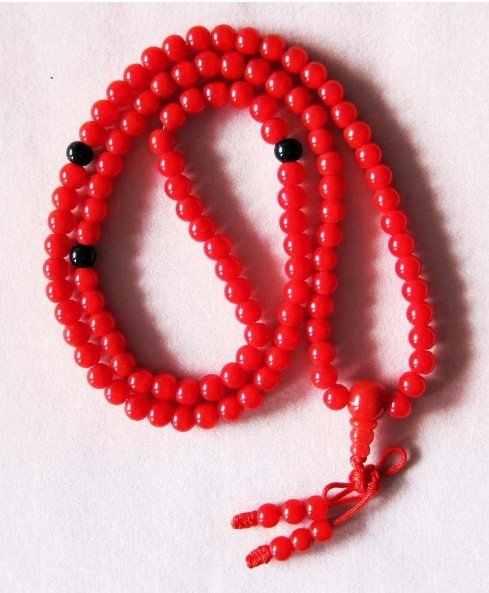 108 สีแดงหยกลูกปัดทิเบตพุทธสวดมนต์สร้อยคอ Mala 18 นิ้วสีแฟชั่นฟรี