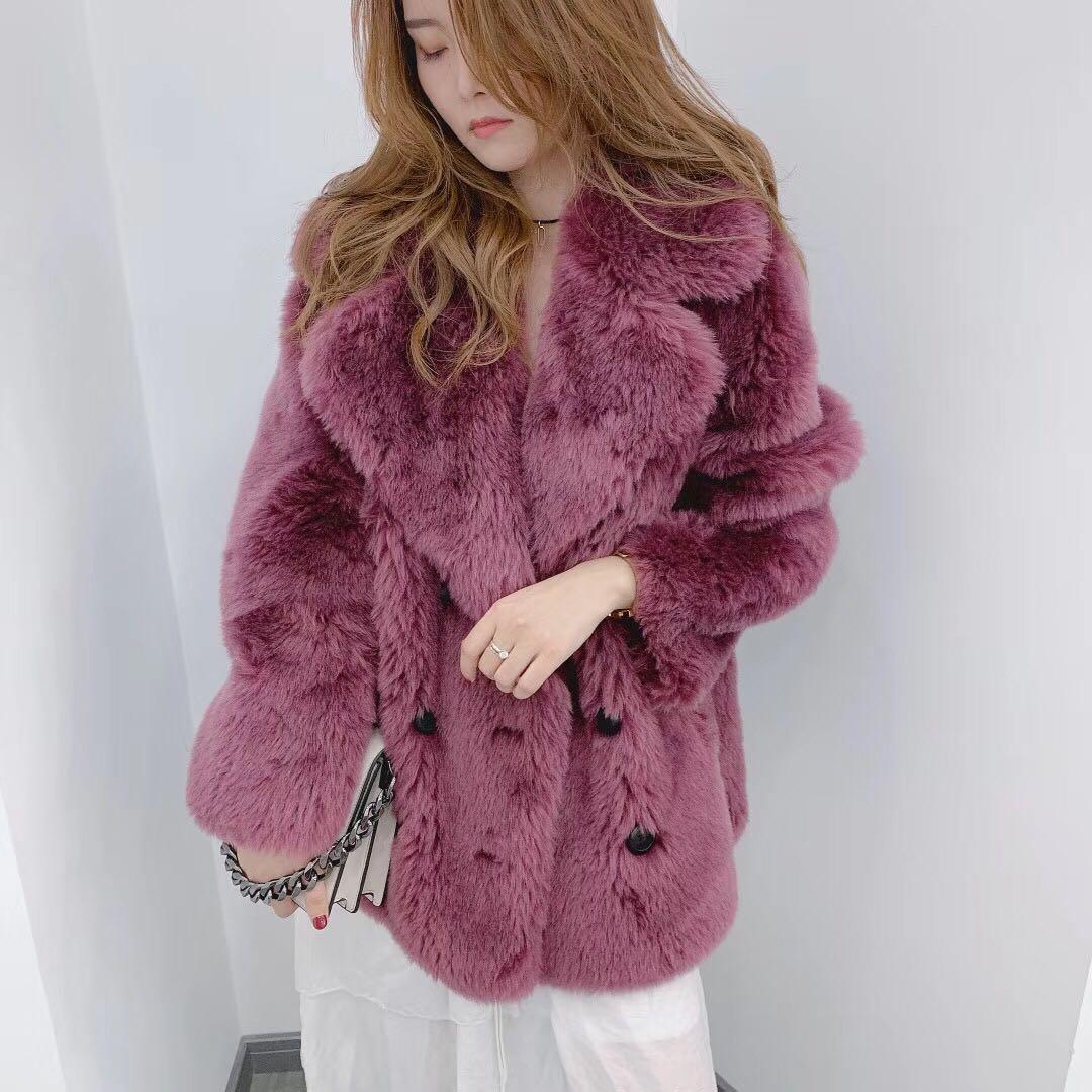 Rf1933B 100% Wool Fur Coat Women Shearling Jacket Long Sleeve Faux Suede Lining Lady's Fur Jacket