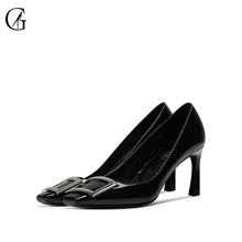 Купить с кэшбэком GOXEOU Women's Pumps Patent Leather Metal Button Square Toe High Heelds Office Pump Classic Fashion Shoes
