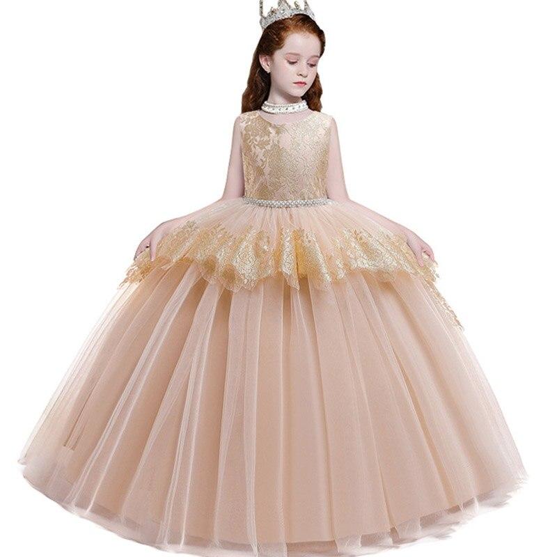 Long Trailing Lace Flower Dress Girls Evening Wedding Birthday Girls Dress First Communion Princess Costume Bridesmaid Dresss