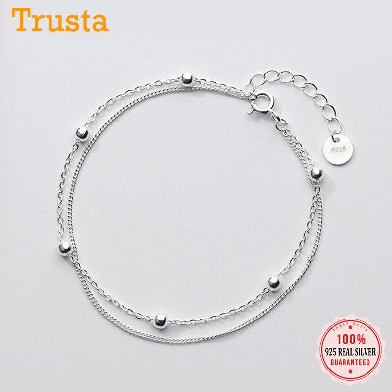 Trusta-pulsera de plata de primera ley con cuentas para mujer, brazalete, plata esterlina 100%, doble capa, 16cm, regalo para niña, DS454