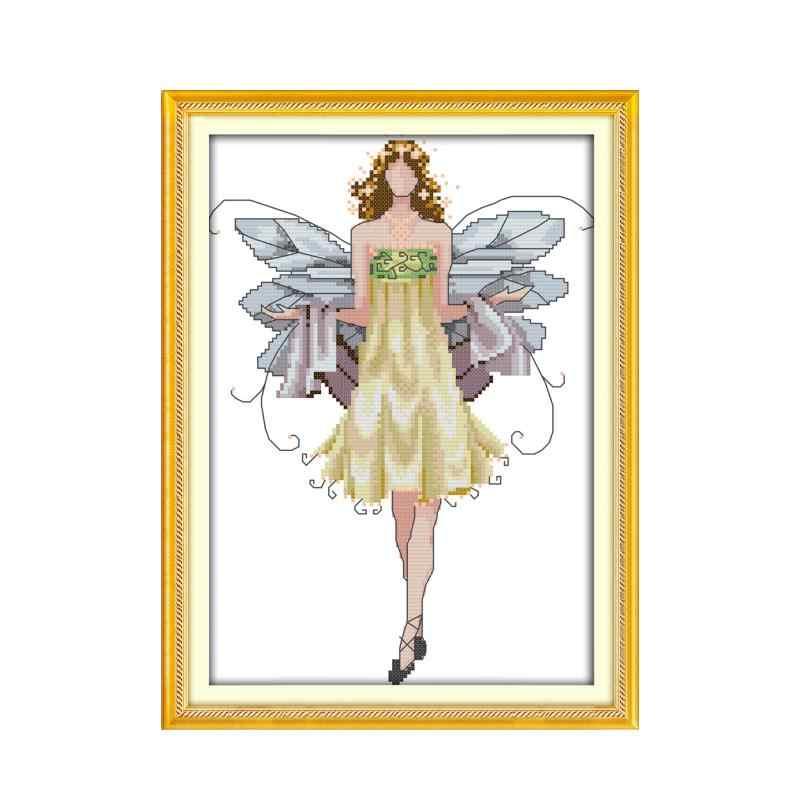 花の妖精クロスステッチキット美容女性ガール 14ct カウント生地キャンバス木綿糸の刺繍 diy ハンドメイド刺繍プラス