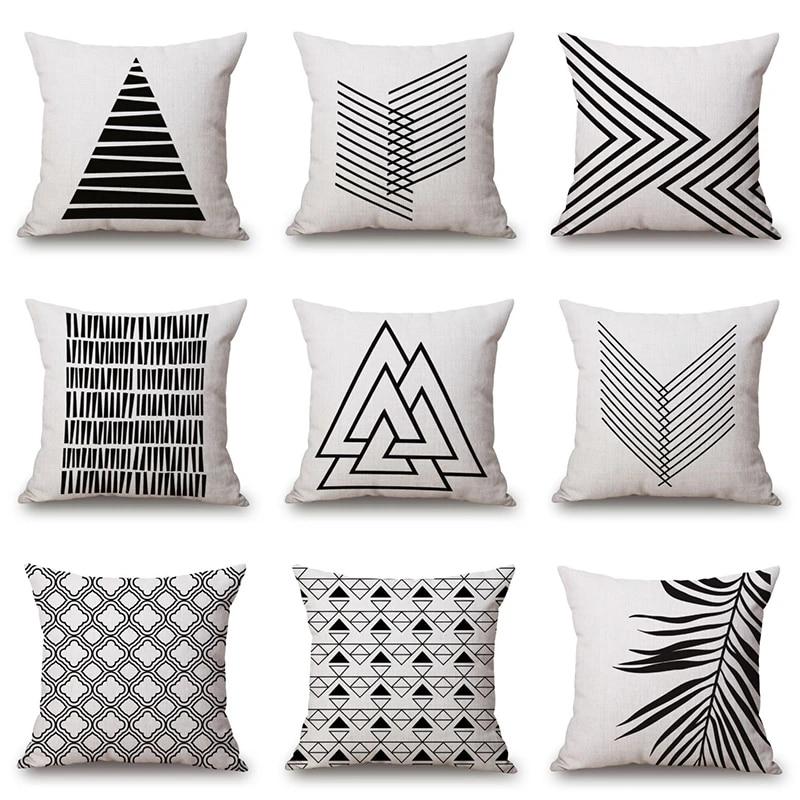 Black White Geometric Cushion Cover Cotton Linen Throw Pillow Case Home Livingroom Sofa Pillow Covers Decoration Pillow Case Aliexpress