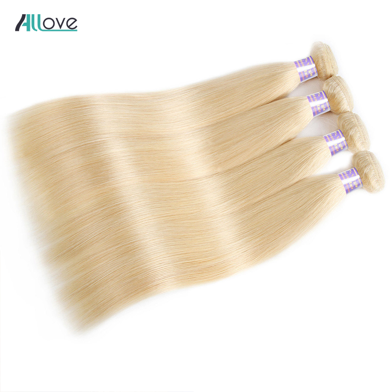 Allove 613 Malaysian Straight Hair Bundles Blonde Human Hair Weave Bundles 10 - 30 Inch Bundles Remy Hair Extensions 1/3/4Pcs image