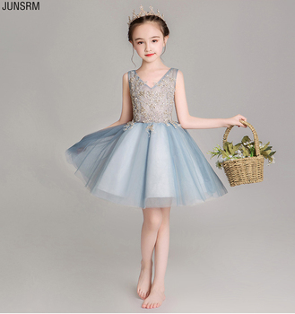 2019 Cute V Neck Sleeveless Flowers Girls Dresses Back Zipper Appliques for First Communion Tulle Ball Gown Girls Evening Gowns