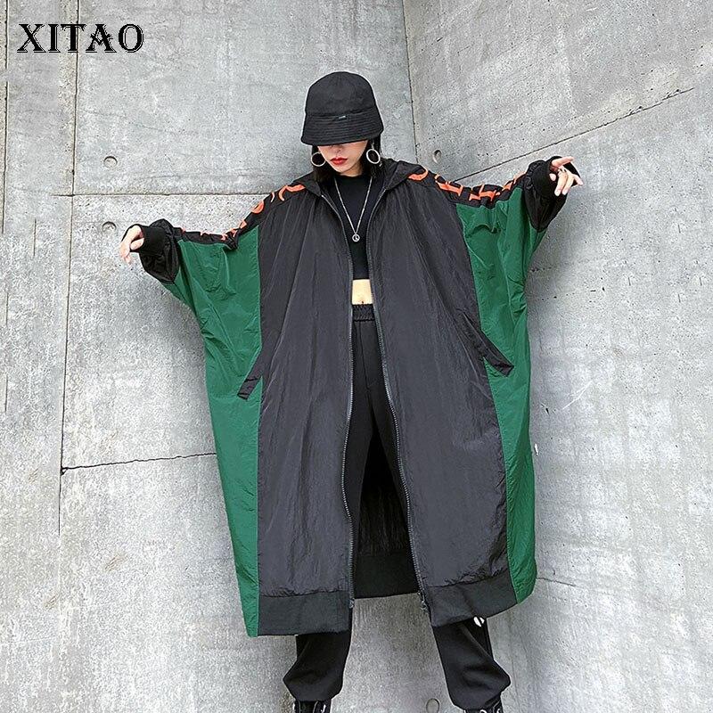 XITAO Европейский стиль Брендовое пальто для женщин размера плюс рукав летучая мышь Контрастные Топы уличная ветровка с капюшоном GCC3398|Плащи и тренчи|   | АлиЭкспресс