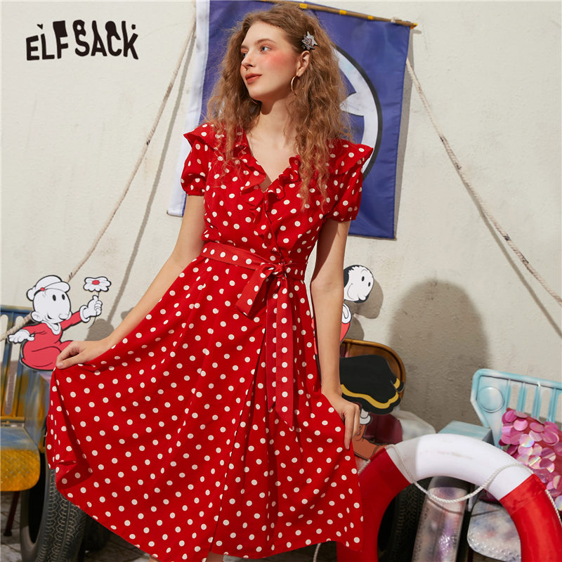 ELFSACK Red Polka Dot A Line Casual Ruffles Dresses Women 2020 ELF Summer Vintage Short Sleeve Belted Girly Korean Holiday Dress