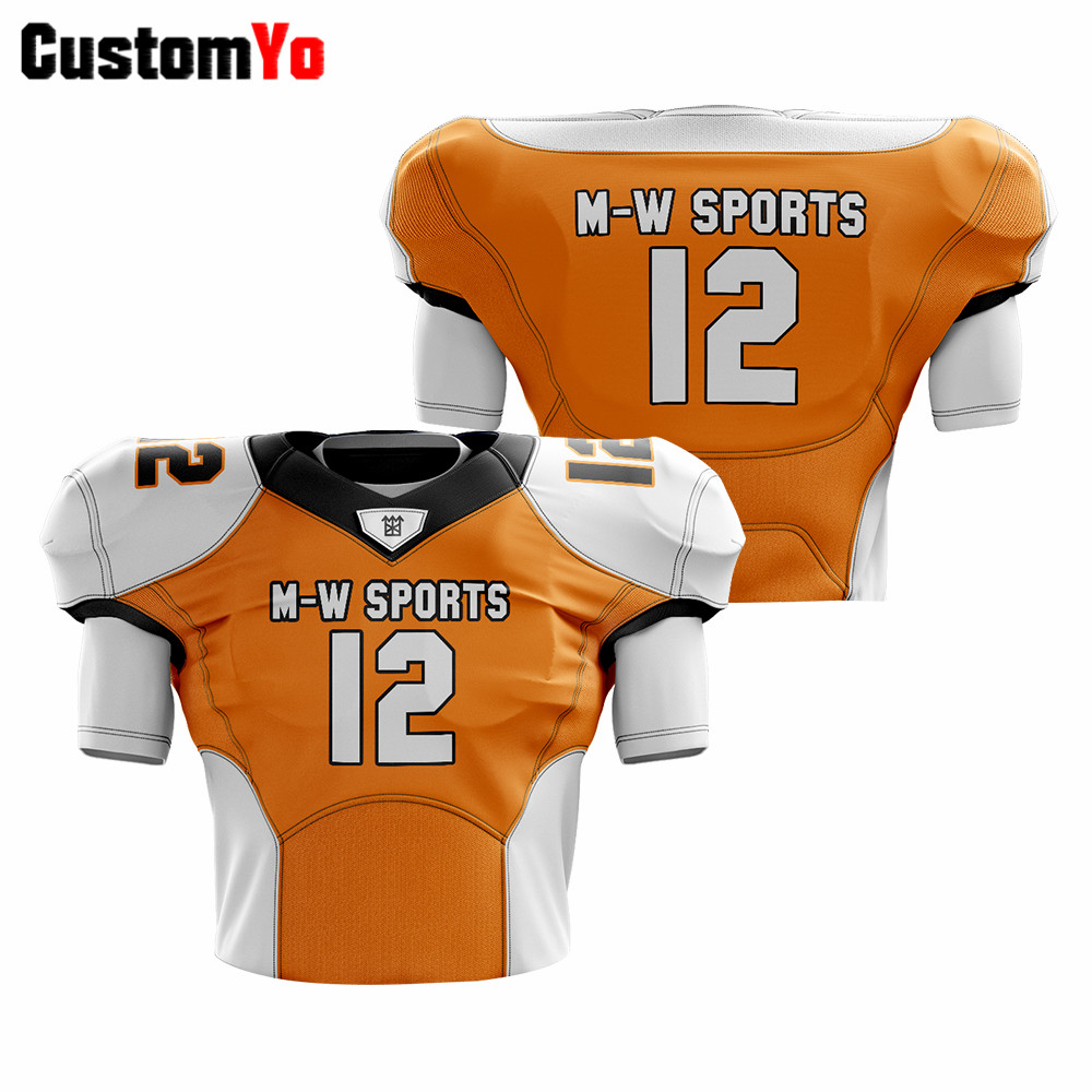 Design Your Own Logo Football Jerseys Orange High Quality Football American Jersey image