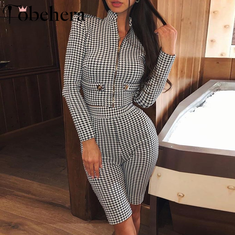 Glamaker Winter sexy plaid playsuit female Long sleeve zipper elegant short jumpsuit Women romper autumn party bodycon street