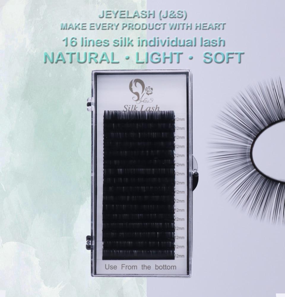 Jeyelash High Quality 16 Row False Mink Individual Eyelash Extension Matte Black 0.03 To 0.15mm Natural Cilios