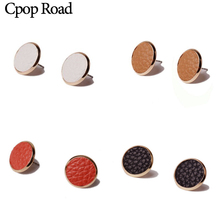 Cpop Vintage New Circle Leather Stud Earrings Solid Color Jewelry Women Accessories Gift for Friend Hot Sale Wholesale