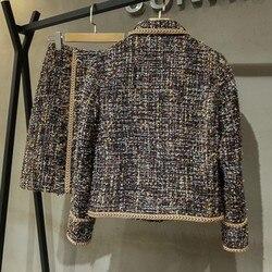 Chaqueta de Tweed de Otoño de moda para mujer minifalda de línea a ajustada de dos piezas conjunto de falda de abrigo corto de marca de un solo pecho
