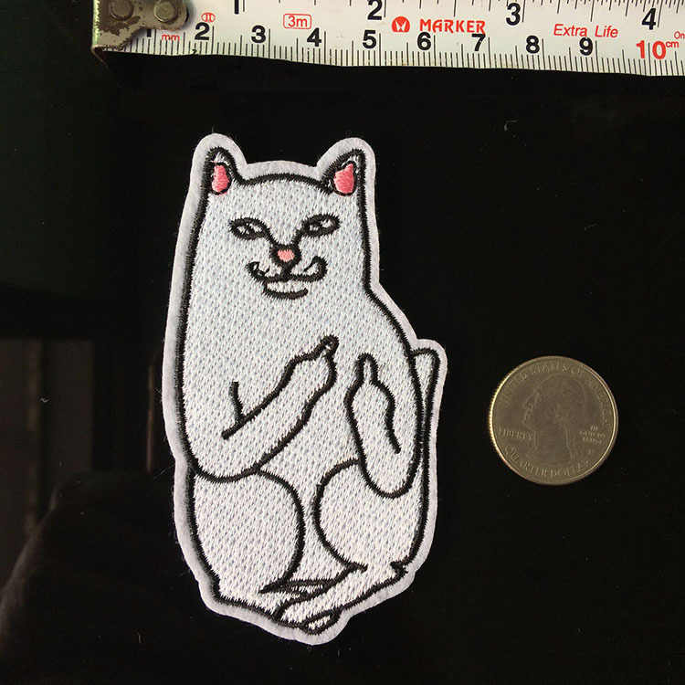 Peace Cat Hip-hop Style Patches for Clothing Iron on Clothes Coat Appliques Punk Skull Dog Badges Embroidered Parches
