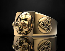 цена на personality Men Gold and Silver Stainless Steel Ring Titanium Steel Ring Pirate Skull Ring Hip Hop Punk Biker Ring Jewelry Gifts