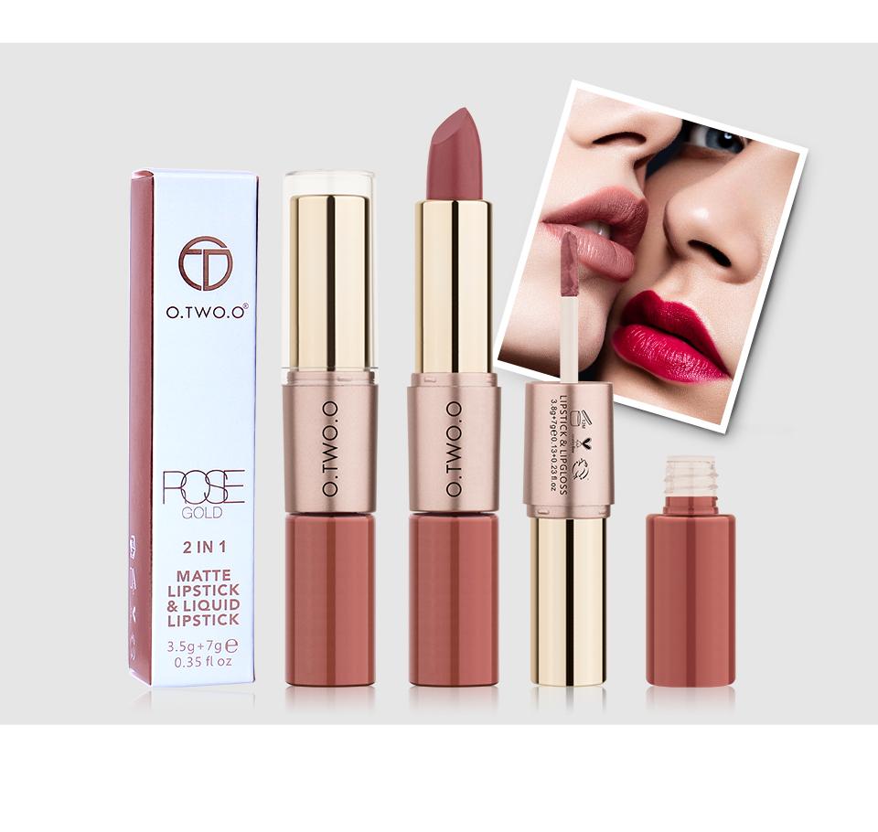 O.TWO. Rose Gold 2 in 1 Matte Mipstick & Liquid Lipstick