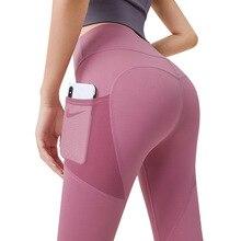 Sports Leggings Peach Yoga-Pants Side-Pockets Mesh Stretch Gym Running Thin Quick-Drying