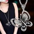 SINLEERY, винтажное ожерелье с подвеской в виде бабочки из кубического циркония, длинная цепочка, Женские Ювелирные аксессуары MY124 SSB - фото