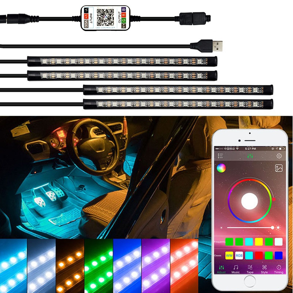 LED Strip RGB Remote Control Car Decorative Atmosphere Lamp For BMW E90 F10 E30 E34 X5 E53 M F20 X3 E87 E70 E92 X1 M3 X6 E38 Z4 image