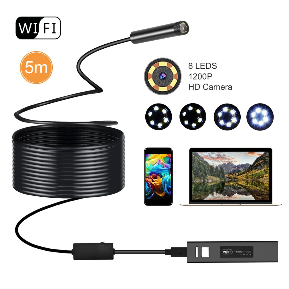 OUTAD Wireless Endoscope 2MP HD1200P Wifi USB Borescope Waterproof Inspection Camera Semi-rigid Flexible Snake Camera 5 Meters