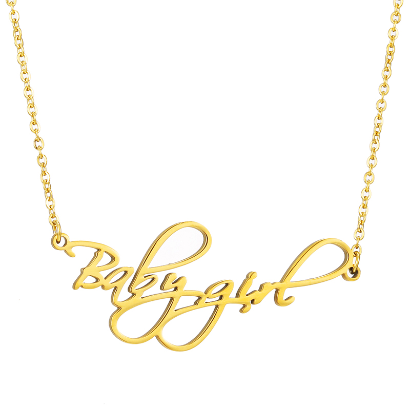 Custom Name Gold Pendant Personalized 3 Color Babygo Stainless Steel Letter Necklace Women Bridesmaid Gift Wedding Accessories