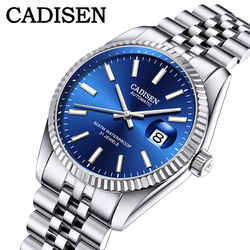 Мужские механические часы от ведущего бренда CADISEN, Роскошные автоматические часы, деловые водонепроницаемые часы из нержавеющей стали, муж...