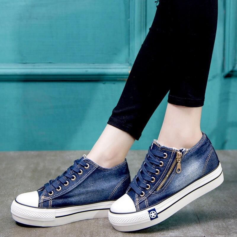 Sapatos de lona para meninas 2019 primavera moda tênis costura sólida mulher denim sapato feminino tamanho 35-41