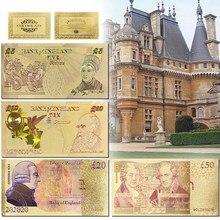Billetes dorados de libra británica, billetes chapados en oro de 24K para colección, 5.10., 50