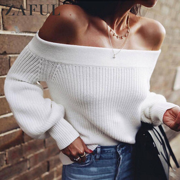 ZAFUL Off Shoulder Sweater Lantern Sleeve White Sweater Pullovers Female 2019 Spring Casual Sweaters Women Clothing Pull Femme white off shoulder high waisted lantern sleeves playsuit