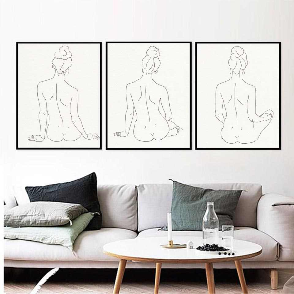 Nordic Prints Hd Poster Sexy Woman Body Nude Picture Modular Minimalist Line Drawing Canvas Home Decor Bedroom Abstract Painting