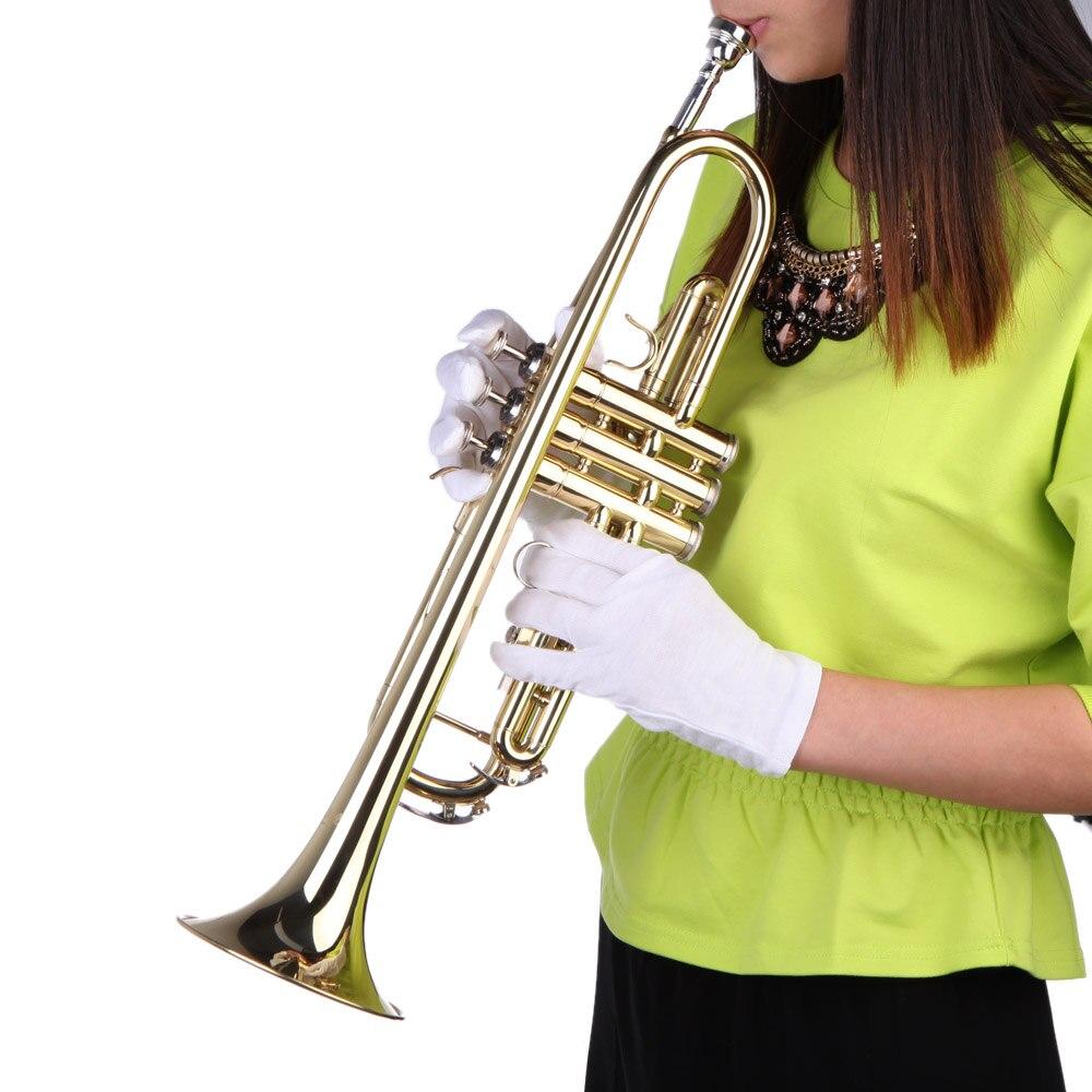 Trompette de musique en laiton professionnel Bb B en laiton plat exquis avec des gants d'embout buccal