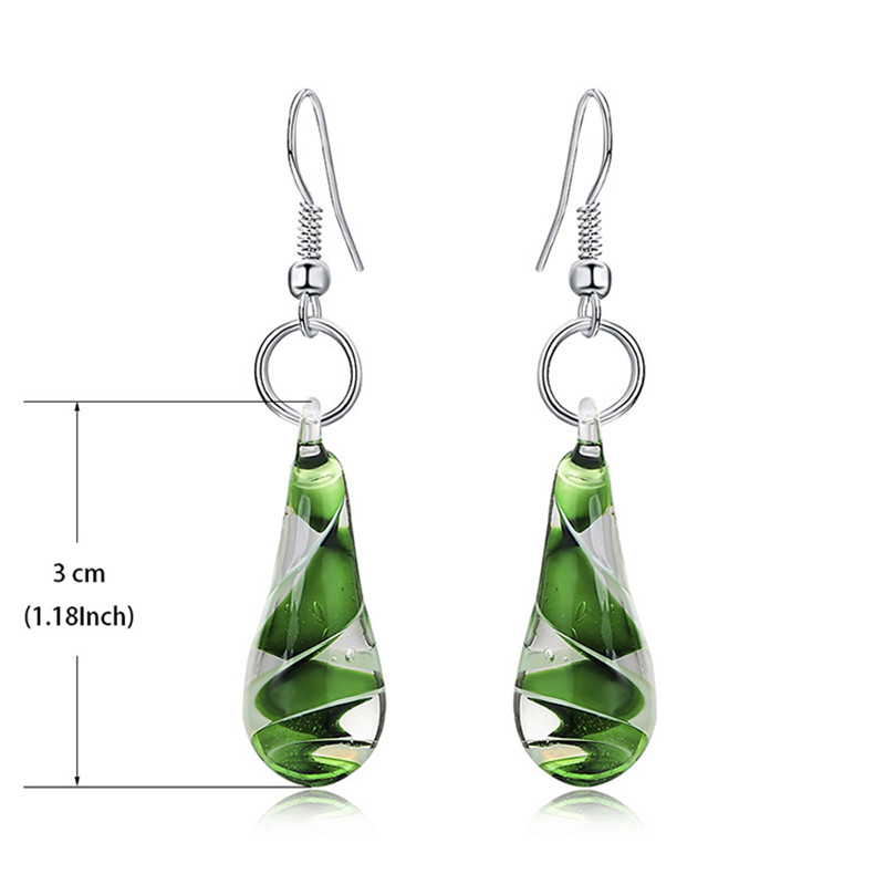 Murano Glass Flower Drop Earrings Water Droplet Women Statement Earrings Green Eardrop in Drop Earrings from Jewelry Accessories