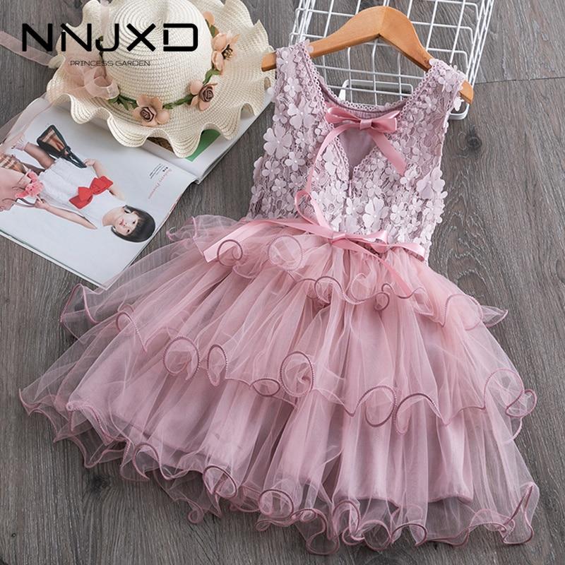 Summer Toddler Girls Lace Cake Dress Kids Sleeveless Floral Mesh Wedding Dresses Children Clothing For Baby Girls 3 To 8 Years
