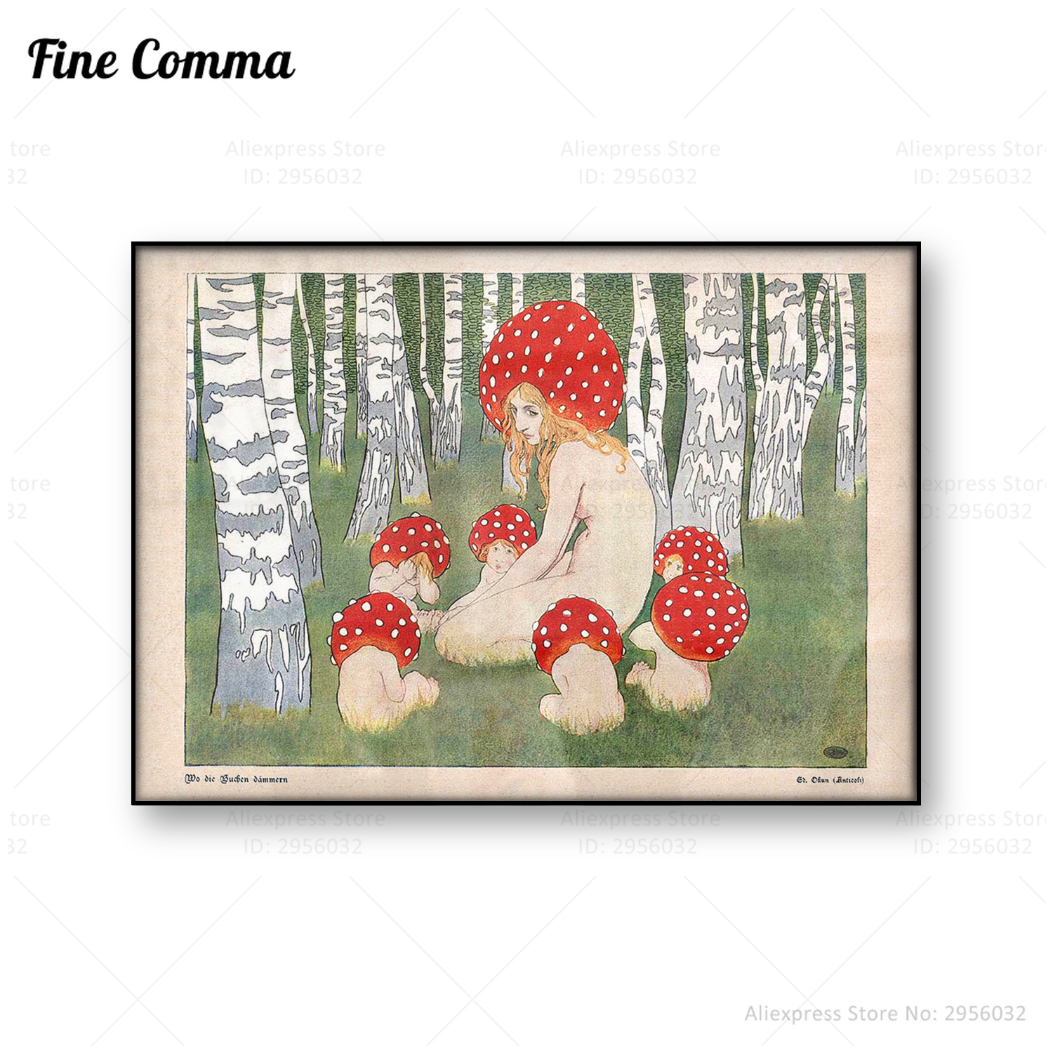 Mother Mushroom with her children Vintage art print Poster Mushroom wall art Woodland decor Antique forest Canvas Print Painting