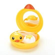 Juego de gafas de viaje bonito pato amarillo, estuche para lentillas de plástico, Estuche para gafas de contacto de viaje, Kit de cuidado de ojos, contenedor, regalo, oferta
