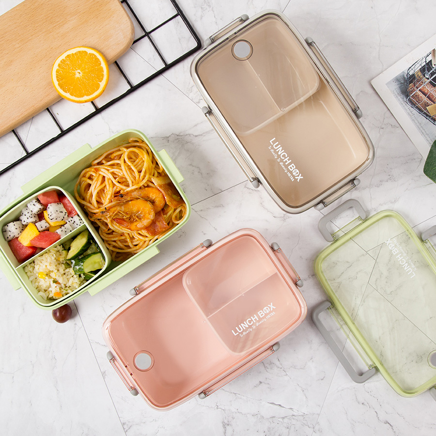 BPA Free Lunch Box Eco-friendly Bamboo Fiber Material Portable Bento Box Microwaveble Food Storage Container For Office Children