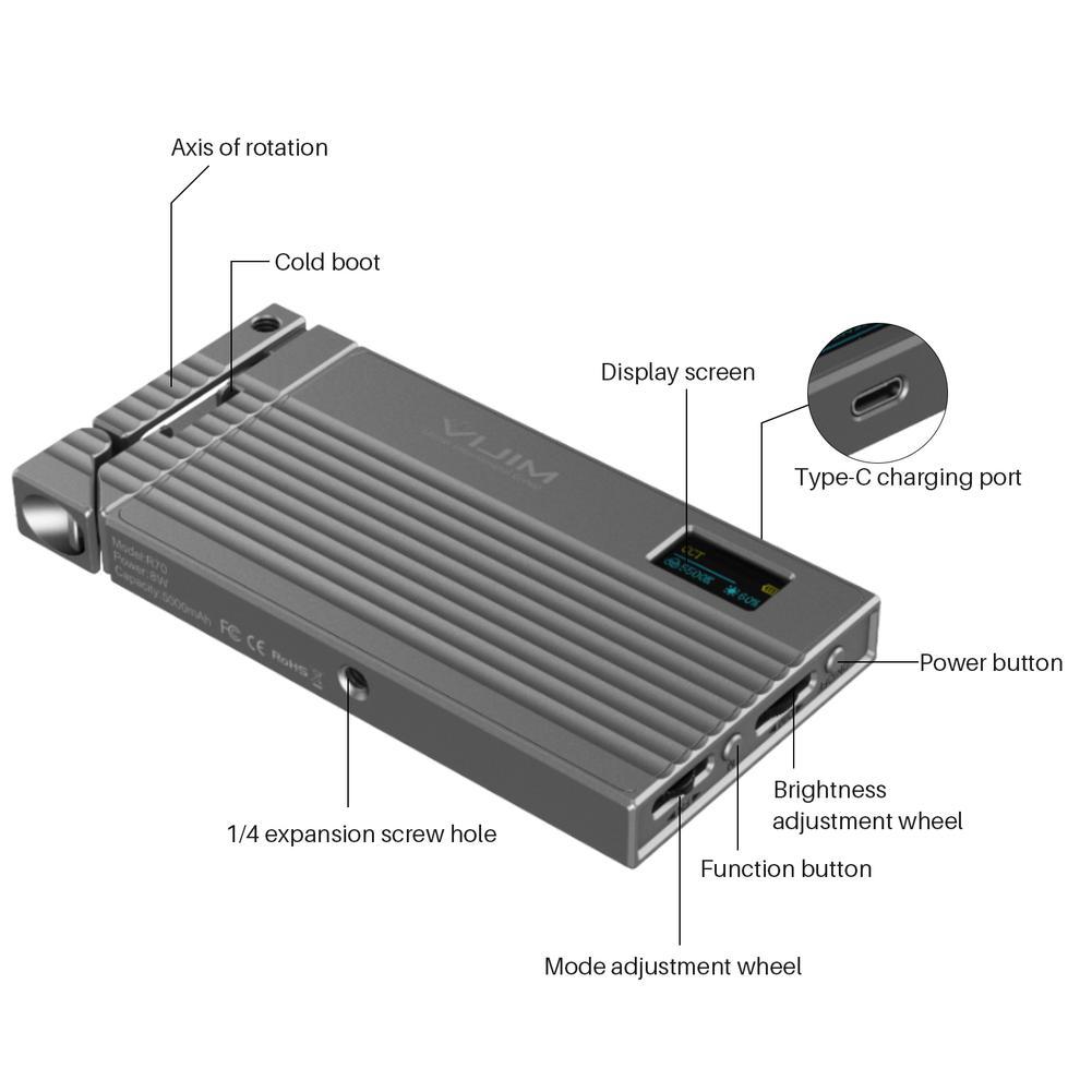 câmera dslr 2700-8500k cri95 + 5000mah luz de preenchimento