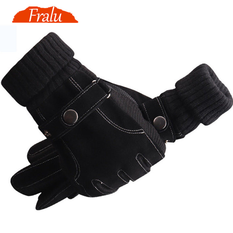 FRALU Men Genuine Leather Gloves Autumn Winter Warm Touch Screen Full Finger Black Gloves High Quality