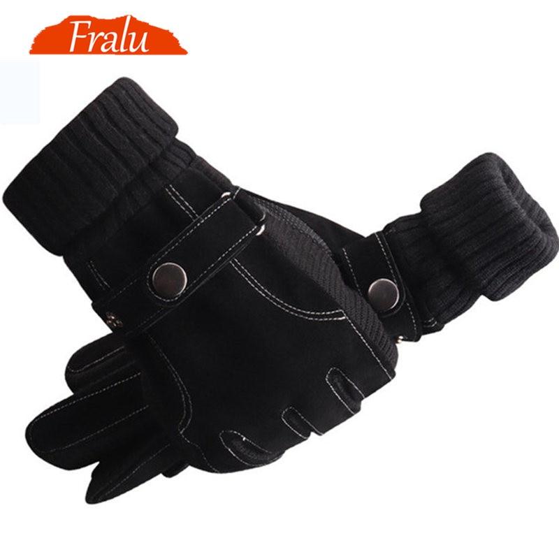 FRALU Men Genuine Leather Gloves Autumn Winter Warm Touch Screen Full Finger Black Gloves High Quality