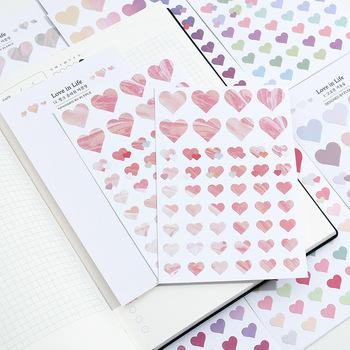 100 sztuk partia Color Love Series podstawowe naklejki kreatywne przezroczyste świeże czasopismo materiał Korea kreatywne naklejki papiernicze tanie i dobre opinie CHENG PIN KR (pochodzenie) 123123 6 lat 3 lata 3 lata 8 lat 9x16cm Repeatable paste Decoration Generation Dropshipping