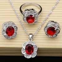 Naturel rouge Aarnet blanc Zircon femmes 925 bijoux en argent Sterling ensembles boucles d'oreilles/pendentif/collier/anneaux Boite Cadeau gratuite T045