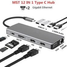 Tipo c mst multi hub duplo hdmi 4k rj45 vga usb3.0 pd tf/sd adaptador de áudio para macbook pro/ar thunderbolt 3 doca