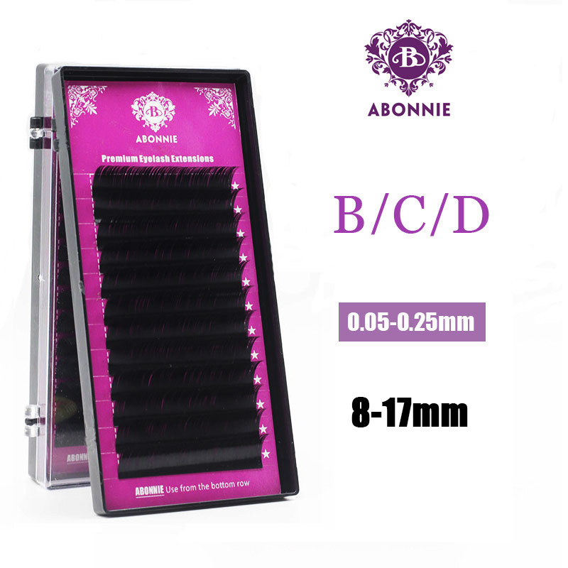 Abonnie New 16/17mm All Size B/C/Dcurl 1 Trays ,Individual Natural Mink Eyelash Extension. Artificial Fake False Eyelashes