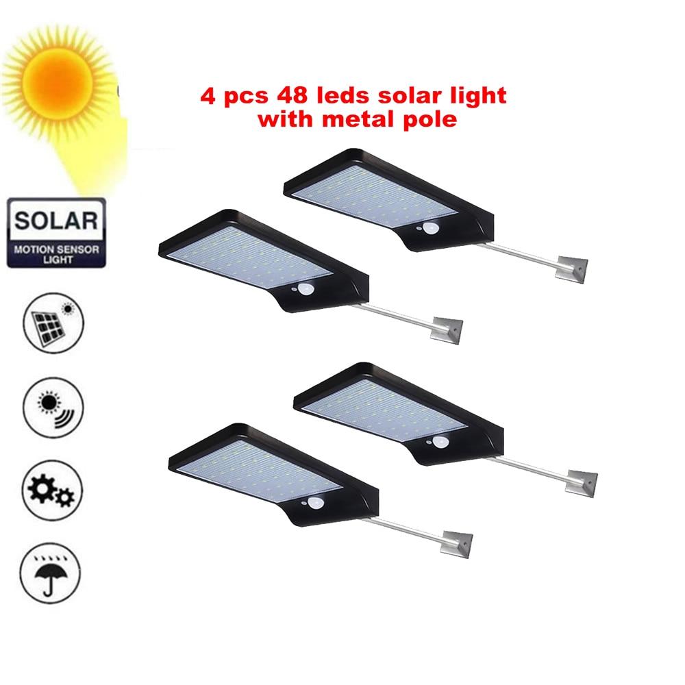 2/4pcs 48 LEDs Solar Light Human Body PIR Motion Sensor Wall Light Outdoor Waterproof Street Path Home Garden Energy Saving Lamp
