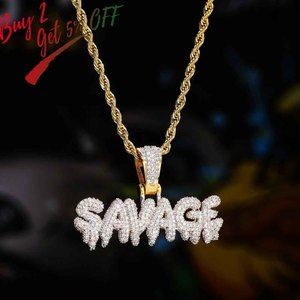 Image 2 - TOPGRILLZ Hip Hop Necklace Brass Gold Color Iced Out Chains Micro Pave Cubic Zircon SAVAGE Pendant Necklace Charm For Men Gifts