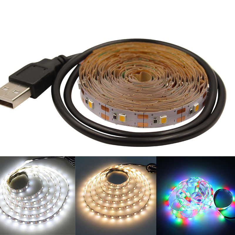 Usb led franja de 5v rgb waem blanco 0,5 m 1m 2m 3m 5m Flexible luz led cinta diodo luz de fondo TV luces