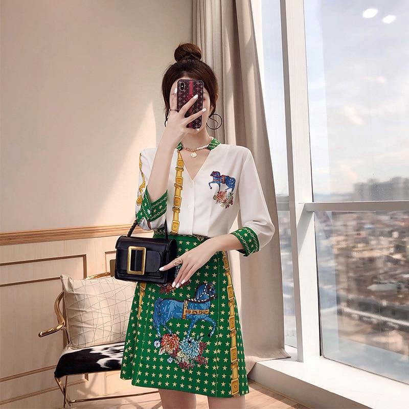 Matcha Green Women's Two-Piece Set Western Style WOMEN'S Dress 2019 New Style Summer Wear Shirt And Skirt France Non-mainstream