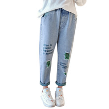 Kids Jeans Girl Broken Hole pants Girls Jeans Elastic Waist Letter Jeans For Children Spring Autumn Casual Clothes For Girls