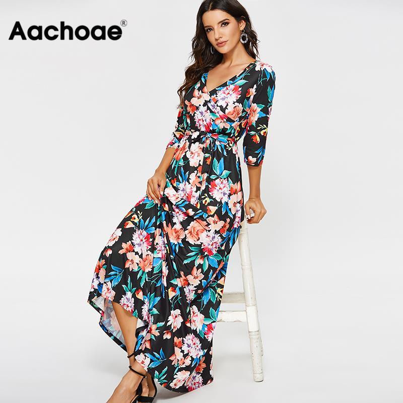 Длинное Макси-платье для женщин, осень 2020, винтажное платье с цветочным принтом, Повседневное платье с поясом, с рукавом до локтя, v-образный ...